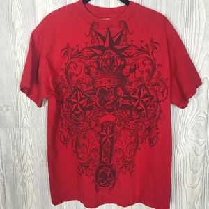 Red Graphic T shirt with Cross